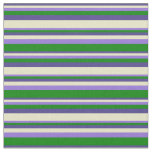 [ Thumbnail: Dark Slate Blue, Pale Goldenrod, Purple & Green Fabric ]