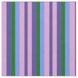 [ Thumbnail: Dark Slate Blue, Plum, Cornflower Blue & Green Fabric ]