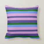 [ Thumbnail: Dark Slate Blue, Plum, Cornflower Blue & Green Throw Pillow ]
