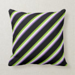[ Thumbnail: Dark Slate Blue, Plum, Mint Cream, Green & Black Throw Pillow ]