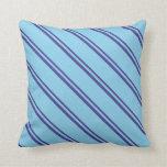 [ Thumbnail: Dark Slate Blue & Sky Blue Colored Pattern Pillow ]