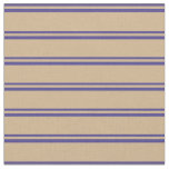 [ Thumbnail: Dark Slate Blue & Tan Colored Lines Fabric ]