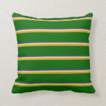 [ Thumbnail: Dark Slate Blue, Tan, Goldenrod, and Dark Green Throw Pillow ]
