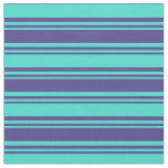 [ Thumbnail: Dark Slate Blue & Turquoise Colored Lines Fabric ]