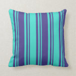 [ Thumbnail: Dark Slate Blue & Turquoise Colored Lines Pillow ]