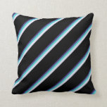 [ Thumbnail: Dark Slate Blue, Turquoise, Lavender, and Black Throw Pillow ]