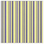 [ Thumbnail: Dark Slate Blue & Yellow Colored Lines Fabric ]
