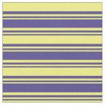 [ Thumbnail: Dark Slate Blue & Yellow Lined Pattern Fabric ]
