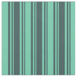 [ Thumbnail: Dark Slate Gray and Aquamarine Stripes Fabric ]