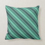[ Thumbnail: Dark Slate Gray and Aquamarine Stripes Pillow ]