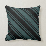 [ Thumbnail: Dark Slate Gray and Black Colored Lines Pillow ]