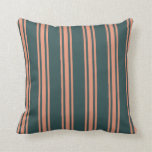 [ Thumbnail: Dark Slate Gray and Dark Salmon Colored Pattern Throw Pillow ]