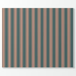 [ Thumbnail: Dark Slate Gray and Dark Salmon Colored Pattern Wrapping Paper ]