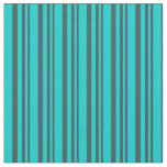 [ Thumbnail: Dark Slate Gray and Dark Turquoise Colored Lines Fabric ]