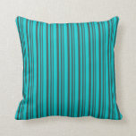[ Thumbnail: Dark Slate Gray and Dark Turquoise Colored Lines Throw Pillow ]