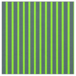 [ Thumbnail: Dark Slate Gray and Green Colored Stripes Pattern Fabric ]