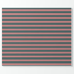 [ Thumbnail: Dark Slate Gray and Light Coral Colored Pattern Wrapping Paper ]