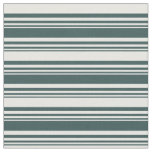 [ Thumbnail: Dark Slate Gray and Mint Cream Colored Stripes Fabric ]