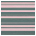[ Thumbnail: Dark Slate Gray and Pink Striped Pattern Fabric ]