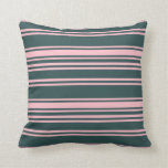 [ Thumbnail: Dark Slate Gray and Pink Striped Pattern Pillow ]