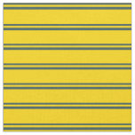 [ Thumbnail: Dark Slate Gray and Yellow Colored Lines Pattern Fabric ]