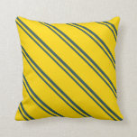 [ Thumbnail: Dark Slate Gray and Yellow Colored Lines Pattern Throw Pillow ]