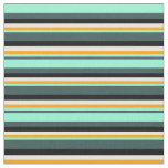 [ Thumbnail: Dark Slate Gray, Aquamarine, Orange, White & Black Fabric ]