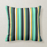 [ Thumbnail: Dark Slate Gray, Aquamarine, Orange, White & Black Throw Pillow ]
