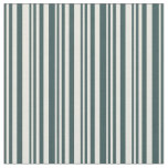 [ Thumbnail: Dark Slate Gray & Beige Colored Striped Pattern Fabric ]