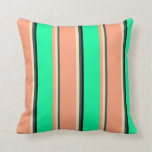 [ Thumbnail: Dark Slate Gray, Beige, Light Salmon, Green, Black Throw Pillow ]