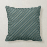 [ Thumbnail: Dark Slate Gray & Beige Pattern of Stripes Pillow ]