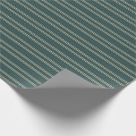 [ Thumbnail: Dark Slate Gray & Beige Pattern of Stripes Wrapping Paper ]
