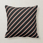 [ Thumbnail: Dark Slate Gray, Beige, Salmon & Black Colored Throw Pillow ]