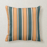 [ Thumbnail: Dark Slate Gray, Brown, and White Colored Pattern Throw Pillow ]