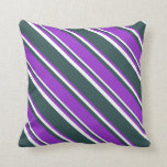 [ Thumbnail: Dark Slate Gray, Dark Orchid, and White Colored Throw Pillow ]