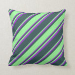 [ Thumbnail: Dark Slate Gray, Green, and Dark Orchid Colored Throw Pillow ]