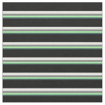 [ Thumbnail: Dark Slate Gray, Green, Gray, White & Black Lines Fabric ]