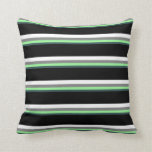 [ Thumbnail: Dark Slate Gray, Green, Gray, White & Black Lines Throw Pillow ]