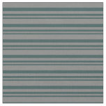 [ Thumbnail: Dark Slate Gray & Grey Stripes Fabric ]