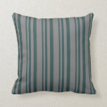 [ Thumbnail: Dark Slate Gray & Grey Stripes Throw Pillow ]