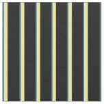 [ Thumbnail: Dark Slate Gray, Lavender, Yellow & Black Stripes Fabric ]