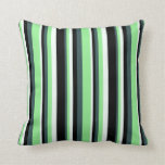 [ Thumbnail: Dark Slate Gray, Light Green, Mint Cream & Black Throw Pillow ]
