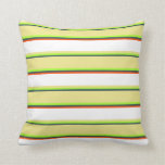 [ Thumbnail: Dark Slate Gray, Light Green, Tan, White, and Red Throw Pillow ]