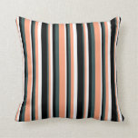[ Thumbnail: Dark Slate Gray, Light Salmon, White, and Black Throw Pillow ]