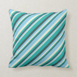 [ Thumbnail: Dark Slate Gray, Light Sea Green, Beige & Sky Blue Throw Pillow ]
