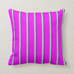 [ Thumbnail: Dark Slate Gray, Light Sea Green, Bisque & Fuchsia Throw Pillow ]