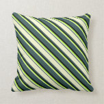 [ Thumbnail: Dark Slate Gray, Light Yellow, Light Green & Black Throw Pillow ]