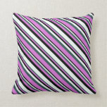 [ Thumbnail: Dark Slate Gray, Orchid, Black & Mint Cream Lines Throw Pillow ]