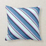 [ Thumbnail: Dark Slate Gray, Orchid, Light Cyan, Blue & Black Throw Pillow ]