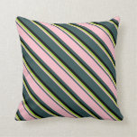 [ Thumbnail: Dark Slate Gray, Pink, Green, and Black Colored Throw Pillow ]